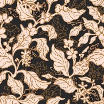빈티지 정원. 커피 완벽 한 패턴입니다. 식물학 지점, 콩, 꽃. 라인 아트 단풍