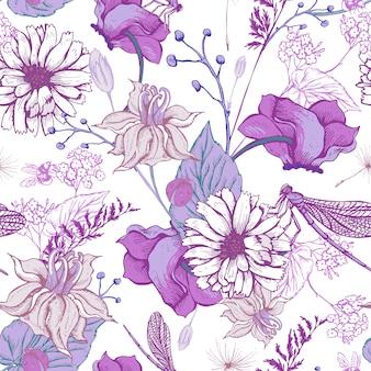 Vintage garden flowers seamless pattern