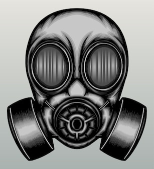 Vintage gas mask in hand drawn