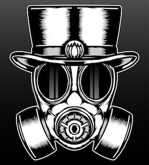 Vintage gas mask with hat isolated on black