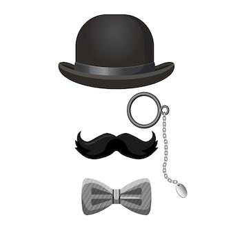 白で隔離される黒とグレーの色のヴィンテージ紳士コレクション。山高帽、暗い口ひげ、眼鏡、蝶ネクタイベクトルポスター