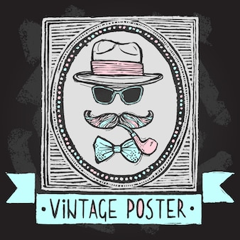 Vintage gentleman disguise set of hat sunglasses mustaches and tobacco pipe poster vector illustration