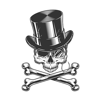あごのないヴィンテージ紳士の頭蓋骨