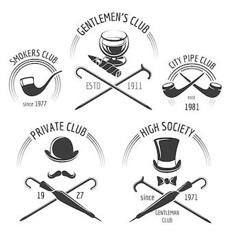 Insieme dell'emblema del club dei signori vintage. emblema del club gentiluomo, signori di etichetta, illustrazione di vettore di hipster baffi