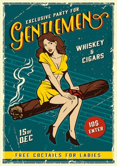 Vintage gentlemen party poster with pin up girl
