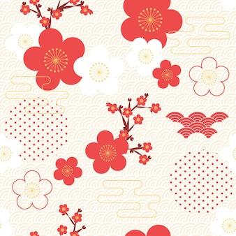 ヴィンテージの幾何学的な梅の花のパターン