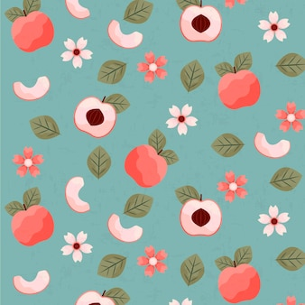 빈티지 기하학적 매화 열매와 꽃 패턴