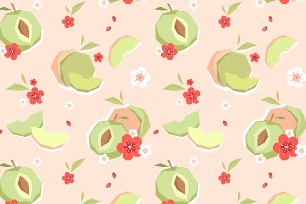 Vintage geometric plum fruit and flowers pattern
