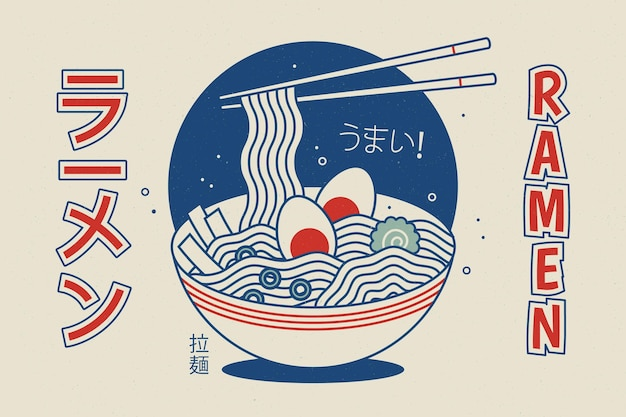 ビンテージの幾何学的なラーメンスープ背景