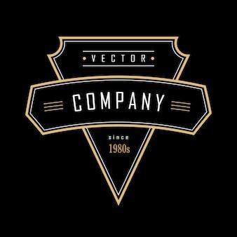 ヴィンテージの幾何学的形状アールデコレトロなデザインのバッジのロゴ