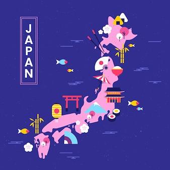 要素を持つヴィンテージの幾何学的な東京地図