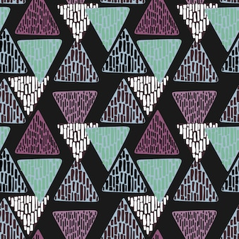 Vintage geometric triangle hand drawn abstract multicolor