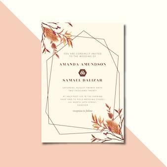乾燥した花の水彩画とヴィンテージの幾何学的な結婚式の招待状