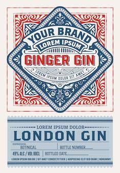 Vintage gin label design