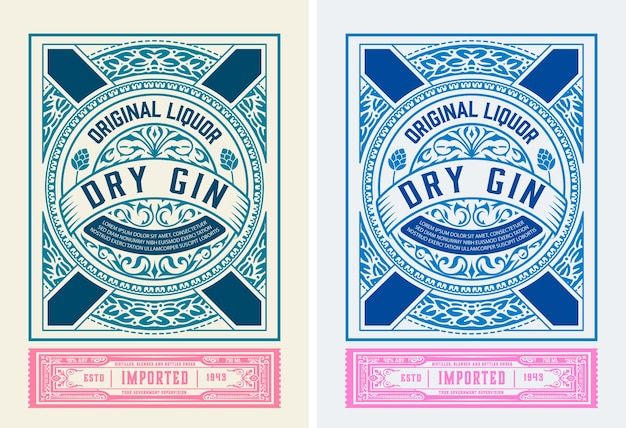 Vintage gin label with baroque ornaments