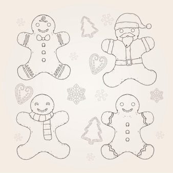 Vintage gingerbread man cookie collection