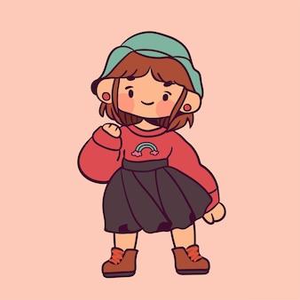 ピンクで隔離の帽子とヴィンテージの女の子