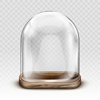 Vintage glass dome and wooden tray realistic