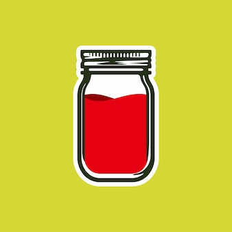Vintage glass mason jar vector