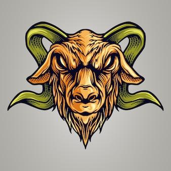 Винтажный козел киберспорт логотип