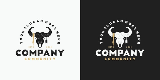 Vintage goat head logo, logo for community, hunter, ranch and farm and other