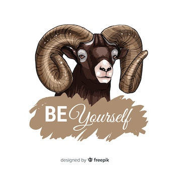 Vintage goat with slogan background
