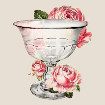 Vintage goblet vector decorated with flower illustration, remixed from the artwork by john tarantino