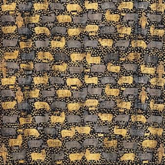 パブリックドメインのアートワークをフィーチャーしたヴィンテージの金と黒の牛のパターンの背景ベクトル