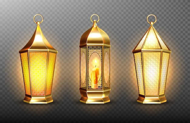 Vintage gold arabic lanterns with glowing candles. realistic set of hanging luminous lamps with golden arabian ornament. islamic shining fanous isolated on transparent background