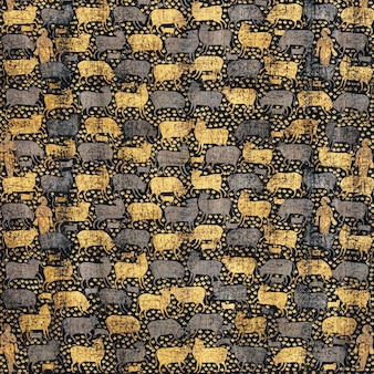 Vintage gold and black cow pattern background vector, featuring public domain artworks