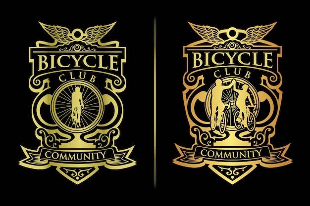 Винтажный золотой логотип велосипедного клуба