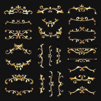 Vintage gold filigree ornament vector collection