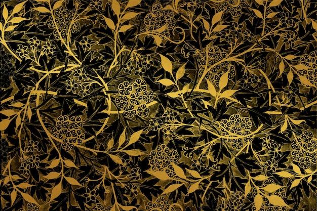 ウィリアムモリスによるアートワークからのヴィンテージゴールドの花の背景ベクトルリミックス
