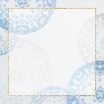 青い曼荼羅の背景にヴィンテージゴールドフレームベクトル、ノリタケファクトリー中国磁器食器デザインからリミックス