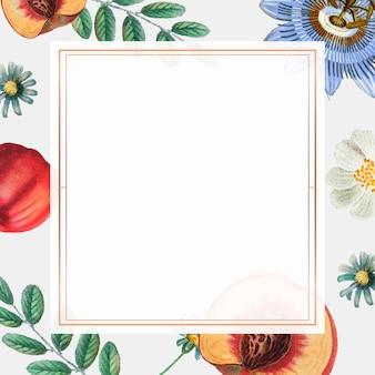 Винтажная золотая рамка с цветами и персиками