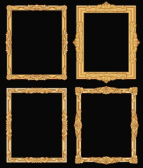 Vintage gold ornate square frames isolated. retro shiny luxury golden borders.