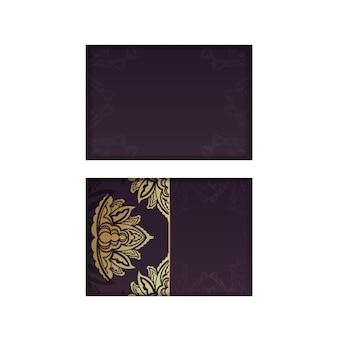 Vintage gold pattern postcard in burgundy color for your design.