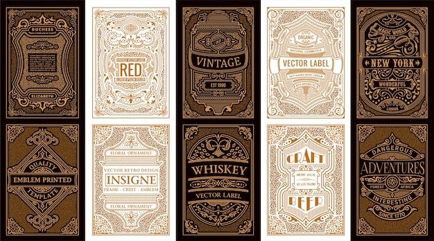 ヴィンテージゴールドのレトロなカードと書道のフレームまたはラベル