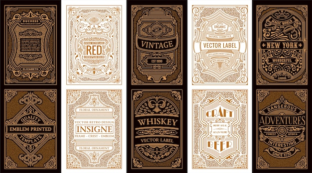 Vintage gold retro cards and calligraphic frames or label