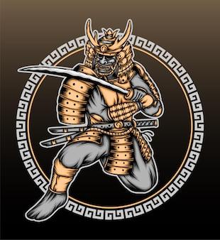Винтажная золотая иллюстрация воина-самурая.