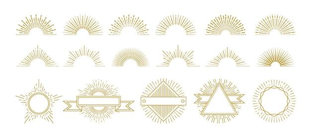 ヴィンテージゴールドのサンバースト。円の線の装飾、日の出のグラフィック要素。流行に敏感なサンバーストアイコン。輝く星の光線のベクトルを設定したレトロなバッジを分離しました。イラストサンバーストとサンシャインシェイプ