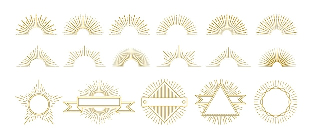Vintage gold sunburst. circle lines decorations, sunrise graphic elements. hipster sunburst icons. isolated retro badges with radiant star rays vector set. illustration sunburst and sunshine shape