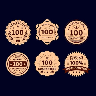 Vintage golden 100% guarantee label collection