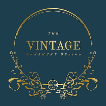 Vintage golden art nouveau badge on blue vector