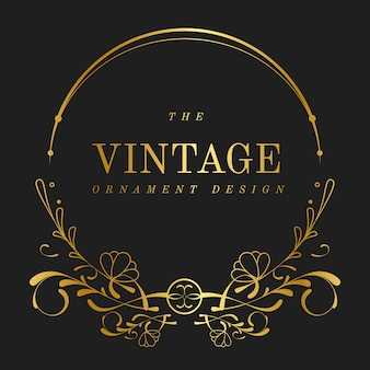 Vintage golden art nouveau badge vector