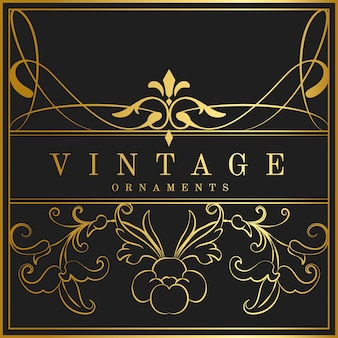 Vintage golden art nouveau badge