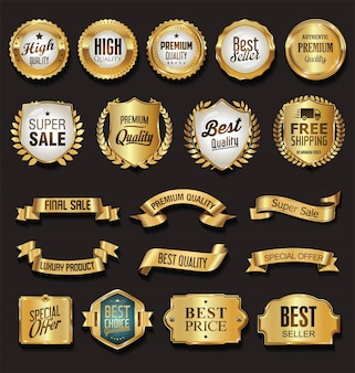 Vintage golden badges vector collection
