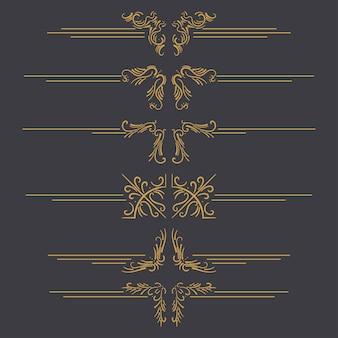 검정색 배경에 격리된 빈티지 황금 테두리, 프레임 및 장식 요소 집합입니다.