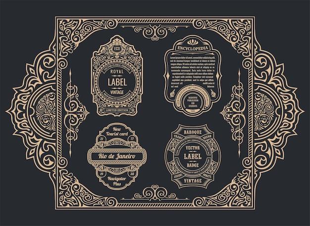 빈티지 황금 붓글씨 프레임 번성 디자인 레이블 광고