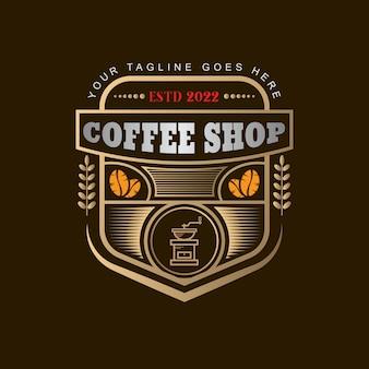 ヴィンテージゴールデンコーヒーショップロゴテンプレート04